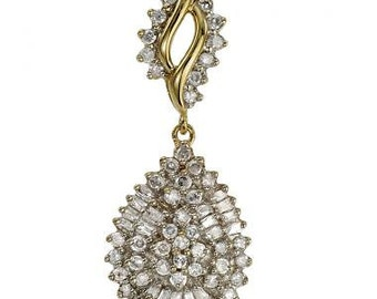 Pear Shape Cluster Diamond Pendant In Yellow Gold