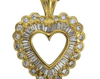 Heart Necklace With Diamonds Heart Pendant Baguette Diamonds 14k Yellow Gold