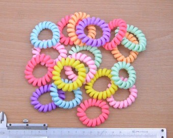 color satin cover soft hair ties craft.Telephone Cord,20pcs small silk covered elastic hair ties supply,ponytail holders,plastic hair ties
