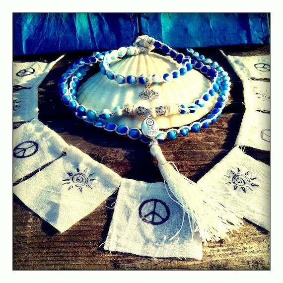 SALE ~ Prana Gift Set / 108 mala / lotus bracelet / swirl sunshine peace flags/ blue sky white cloud swirl beads/ lotus believe bracelet