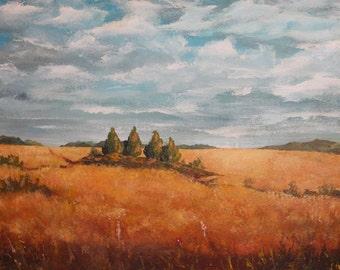 Vintage impressionist field  oil painting