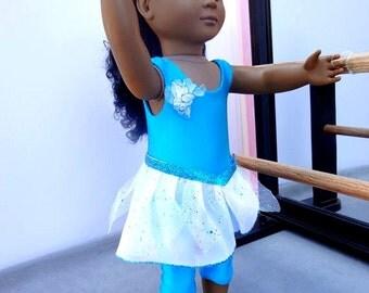 Blue Ballet Unitard Set for 18 inch Doll Clothing
