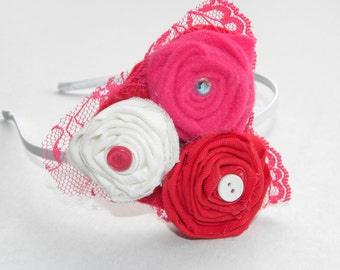 Pink, White, and Red Flower Headband