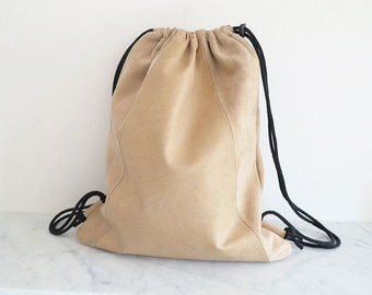 Leather Backpack / Draw-String Pack / camel