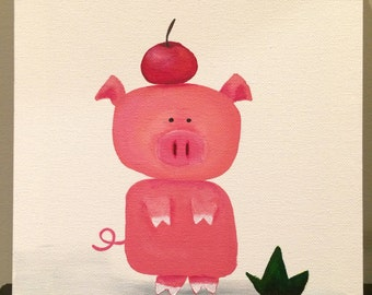 "Acrylic painting on canvas (8x10""): A Pig With An Apple"