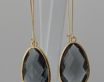 Charcoal Glass Oval Bezel Drop Pendant Earrings