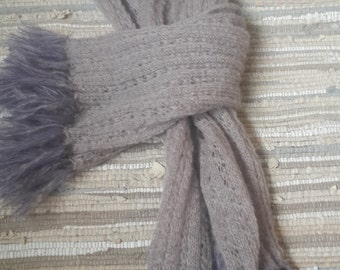 Hand made knitted mohair scarf with fringe