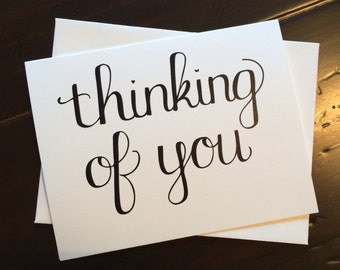Thinking of You Card {set of four} - folded, hand lettered notecard with envelope