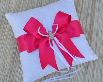 Ivory or White Ring Bearer Pillow,Ivory Wedding Ring Pillow- Fuchsia, Choose Your Colors, Pearl Rhinestone Accent
