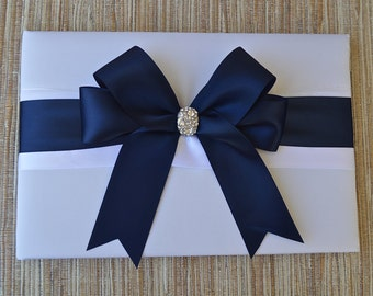 Wedding Guest Book  - NAVY BLUE Satin Ribbon - Ivory and White Wedding Book, Choose Your Colors