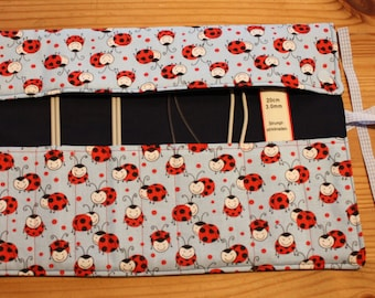 Knitting Needle Roll Ladybug