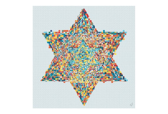 Star of David: limited edition of colorful painting printed on canvas, contemporary art, Gives extremely good vibes, By Tovi Ben Herzel