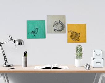 Print on wood, Wood wall decor, Set of 3, Bird, squirrel, kitten, Wood signs, Rustic decor, Dorm decor