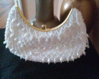 LaRegale White Beaded and sequin With Gold handle Purse