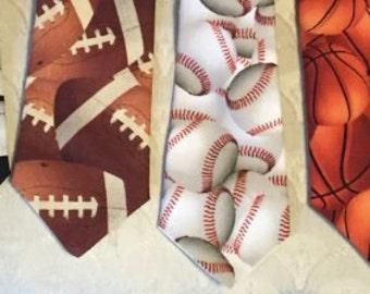 Let's Play Ball! Boy's baseball tie, sports tie, basketball tie, soccer tie, football tie, world soccer tie, clip on tie
