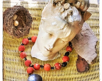 Vintage Rough Coral Sponge Beads Pendant Necklace, Boho Ethnic