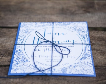 Willow pattern Wedding Invite and RSVP