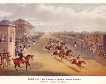 1908 antique horse racing print great st leger stakes in 1836 by James Pollard
