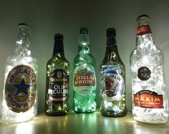 Upcycled beer/lager/cider bottle lamps - ideal for home, office, bar, man cave ... ANYWHERE. Great father's day presents!