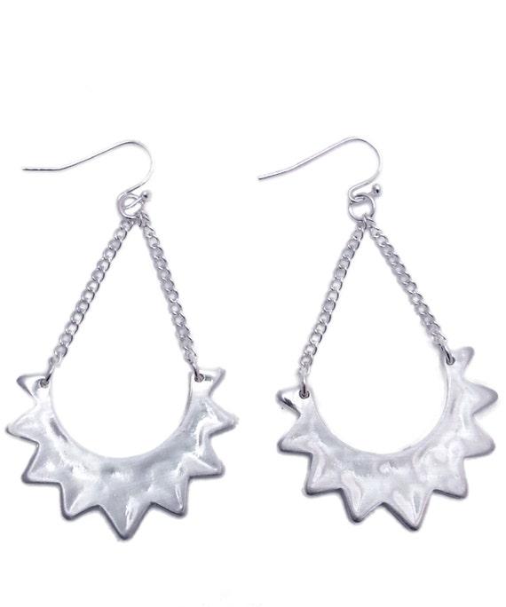 Sundance Earrings Hammered Silver tone Dangle