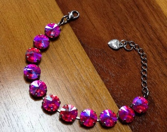 Handmade Swarovski Crystal bracelet 12mm in pink;purple;red mixed stone.