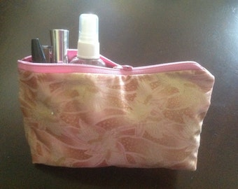 Pink & gold fabric cosmetic bag