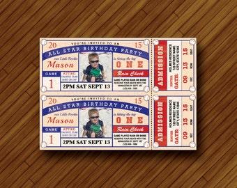 Printable Baseball Ticket Invitation