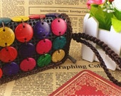 Coconut Shell Buttons Purse,Summer Tote, Colorful Coconut Shell Wallet,Hobo Bag,Lady Purse,Vintage Wallet,Crochet Woven Purse,Lady Handbag
