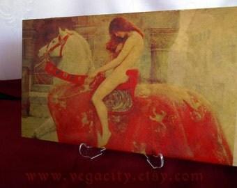 Lady Godiva  printing on ceramic tile,home decor,painting master,art print on tile,tile print,flowers