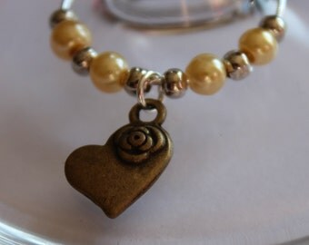 6 x Bronze heart wine glass charms - rustic wedding