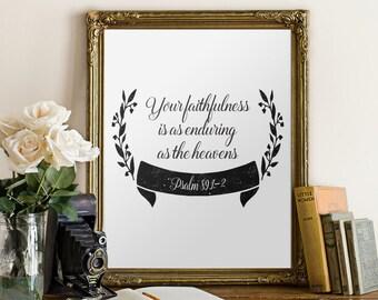 Psalm 89 1-2, Bible Verse, Printable bible verse, Scripture Print wall art decor poster, Inspirational quote, Home decor - Psalm 89:1-2