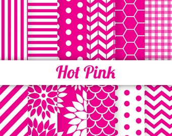 50% OFF Hot Pink Digital Paper Scrapbook Paper Hot Pink White Chevron Pink Polka Dots Scallop Pink Dahlia Pink Honeycomb Fuschia