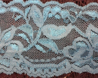 2 Inch Elastic Lace By The Yard - Teal