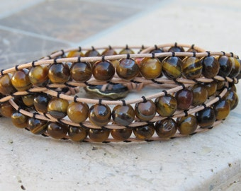Beaded 3 Wrap Tiger Eye 8mm beads with Natural Leather