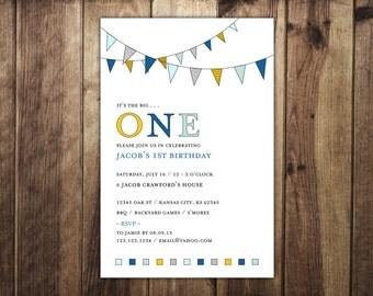 Boy's or Girl's First Birthday Pennant Invitation