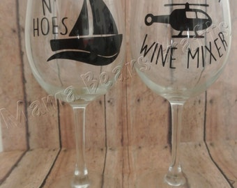 Step brothers gift set | Catalina Wine Mixer  | Boats n Hoes Wine glass | Gift set