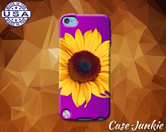 Purple Ombre Sunflower Flower Cute Tumblr Inspired Custom Case For iPod Touch 4th Gen or iPod Touch 5th Generation or iPod Touch 6th Gen