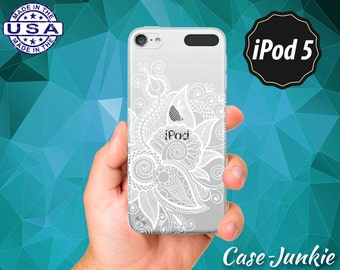 White Flower Line Art Floral Pattern Ornate Henna Tattoo Rubber Transparent Clear Case For iPod Touch 5th Generation or iPod Touch 6th Gen