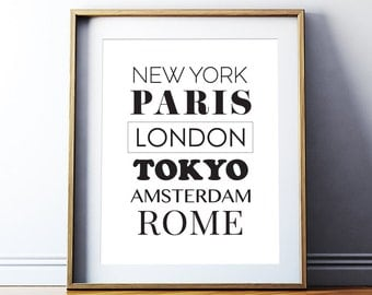 "Printable Art ""New York Paris London Tokyo Amsterdam Rome Poster"" World Cities Typography Printable City Art Digital Download"