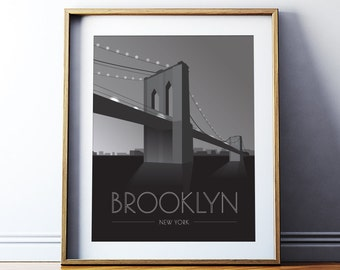Printable Art Brooklyn Poster Travel Inspiration Brooklyn Bridge New York Motivational Print NYC Black and White Giclee Digital Download