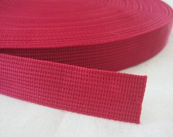 5 Yards, 1 inch (2.5 cm.), Polypropylene Webbing, Burgundy, Key Fobs, Bag Straps, Purses Straps, Belts, Tote Bag Handle.