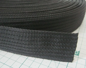 5 Yards, 1.5 inch (3.8 cm.), Polypropylene Webbing, Black, Key Fobs, Bag Straps, Purses Straps, Belts, Tote Bag Handle