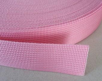5 Yards, 1.25 inch (3.2 cm.), Polypropylene Webbing, Pink, Key Fobs, Bag Straps, Purses Straps, Belts, Tote Bag Handle.
