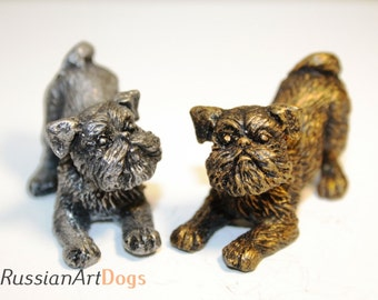 Brussels Griffon Miniature figurine from the alloy of tin pewter statuette