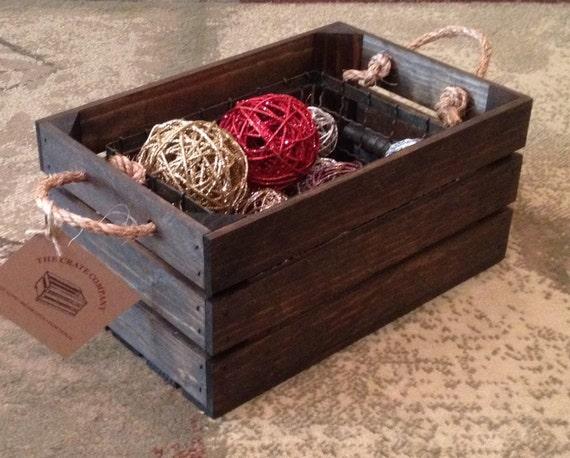 petite caisse en bois avec poign es corde 15 l x. Black Bedroom Furniture Sets. Home Design Ideas