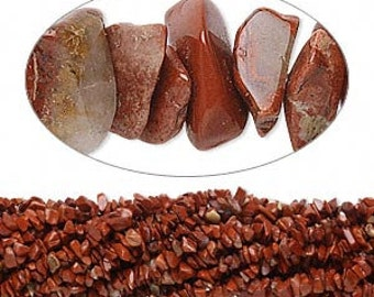 Red Jasper Bead, Natural Jasper Nugget, Chips, 6 to 8mm, 36 inch strand, D237