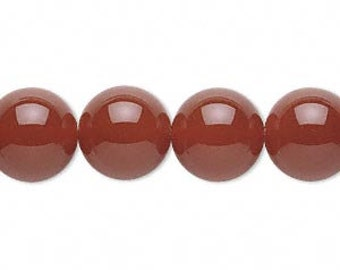 Red Carnelian Bead, Red Bead, 12 mm round, 7 each, D308