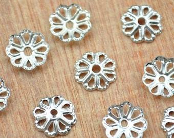 50pcs Silver Plated Metal Bead Caps 7mm Handmade Caps,Filigree Bead Caps