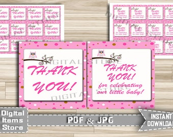 Owl Thank You Tag Printable - Party Thank You Tag Owl Pink - Thank You Tag - Favor Thank You Tag Owl Pink - Instant Download - po1