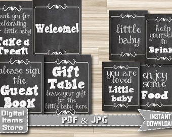Printable Baby Shower Chalkboard Table Signs - Baby Shower Table Signs Chalkboard, Welcome Sign, Guest Sign, Favor - Instant Download - Ch1
